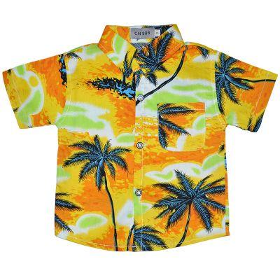 """Рубашка детская """"Пальмы"""" короткий рукав оранжевая"""