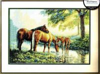 Horses by a Stream 35174 Лошади у воды